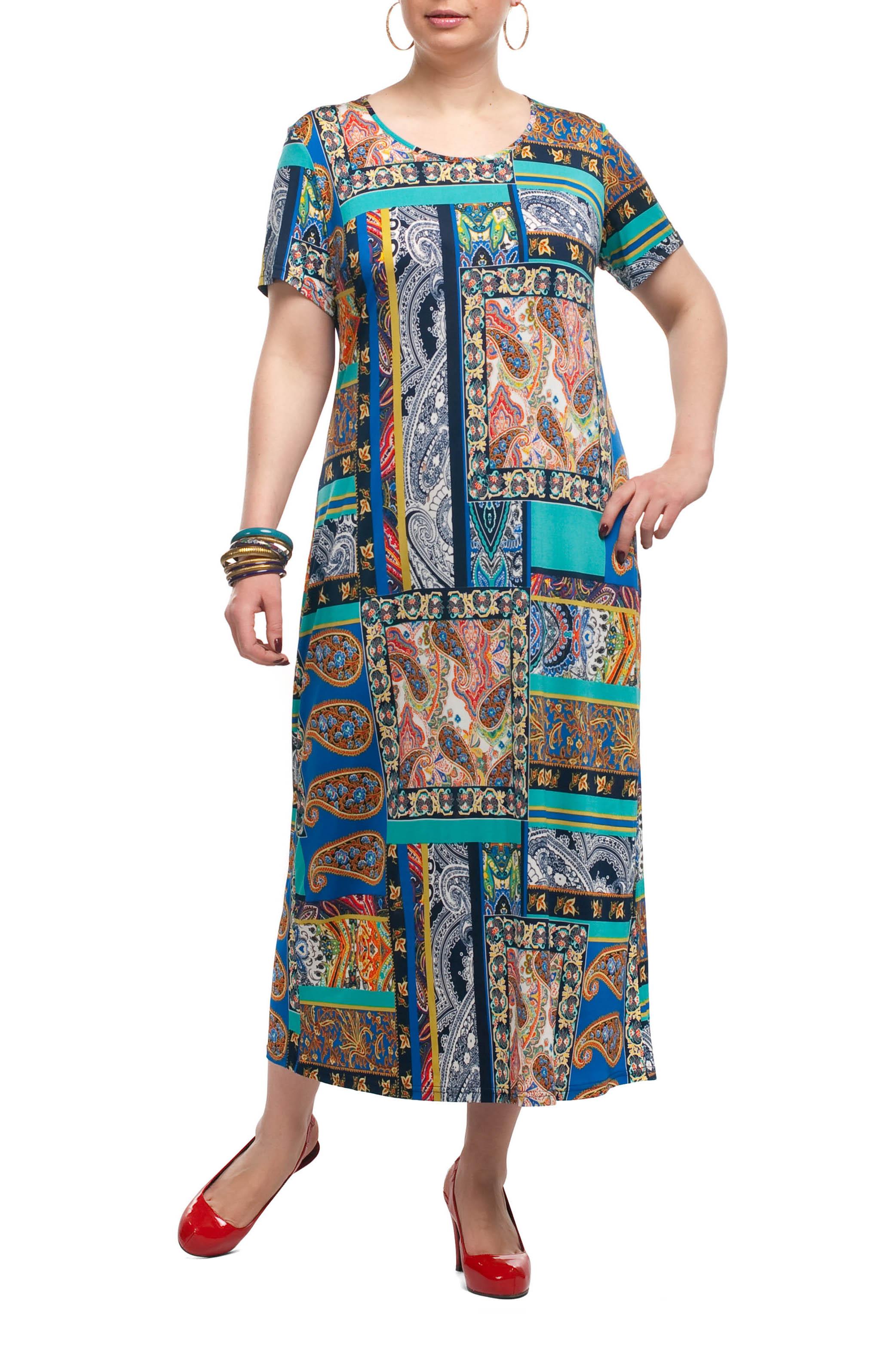 ПлатьеПлатья<br>Яркое платье прямого кроя - это дивный вариант на лето. Платье с округлым вырезом горловины и короткими рукавами. Украшена модель контрастным рисунком.  Цвет: бирюзовый, синий, коралловый и др.   Рост девушки-фотомодели 173 см<br><br>Горловина: С- горловина<br>По длине: Макси,Миди,Ниже колена<br>По материалу: Трикотаж<br>По образу: Город,Круиз,Свидание<br>По рисунку: Абстракция,С принтом,Цветные<br>По силуэту: Прямые,Свободные<br>По стилю: Летний стиль,Повседневный стиль<br>Рукав: Короткий рукав<br>По сезону: Лето<br>Размер : 52,54<br>Материал: Холодное масло<br>Количество в наличии: 8