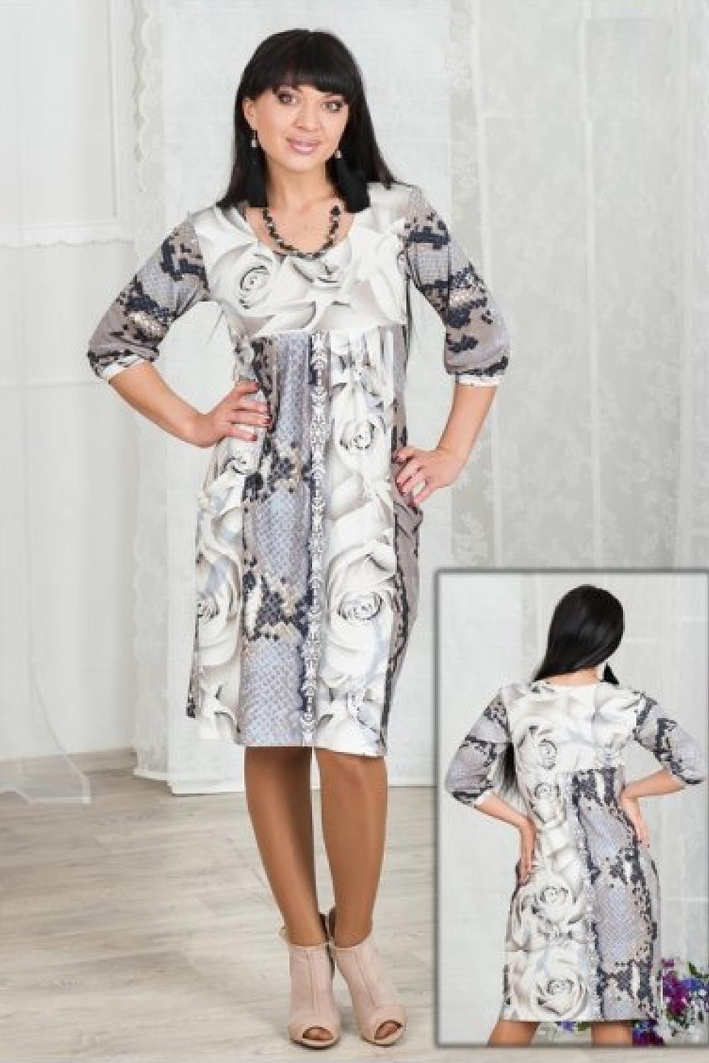 ПлатьеПлатья<br>Комфортное платье из вискозы со складками под грудью и глубокими карманами - хит продаж.  Длина около 90-95 см. в зависимости от размера  Цвет: белый, серый  Ростовка изделия 170 см.<br><br>Горловина: С- горловина<br>По длине: Ниже колена<br>По материалу: Вискоза<br>По рисунку: Рептилия,С принтом,Цветные,Растительные мотивы,Цветочные<br>По силуэту: Полуприталенные<br>По стилю: Повседневный стиль<br>По элементам: С карманами,Со складками<br>Рукав: Рукав три четверти<br>По сезону: Осень,Весна,Зима<br>По форме: Платье - футляр<br>Размер : 46,48,50<br>Материал: Вискоза<br>Количество в наличии: 7