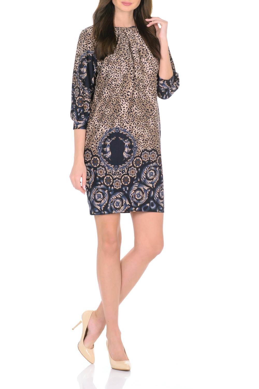 ПлатьеПлатья<br>Трикотажное платье совмещает в себе комфорт и элегантность. Платье идеально подходит как для офиса, так и для более непринужденной обстановки. Модель нарочито лаконичного прямого кроя наделена неповторимой выразительностью благодаря фактурной ткани. Складки у круглого выреза и рукава 3/4 на манжетаж подчеркивают женственную элегантность модели. В боковом шве расположены карманы. Простота кроя и минимум отделки позволят Вам поэкспериментировать с аксессуарами. Создавайте Ваш стиль с удовольствием.   Длина изделия 87-90 см.  В изделии использованы цвета: бежевый, синий и др.  Ростовка изделия 170 см.<br><br>Горловина: С- горловина<br>По длине: До колена<br>По материалу: Трикотаж<br>По рисунку: Леопард,С принтом,Цветные<br>По сезону: Зима,Осень,Весна<br>По силуэту: Полуприталенные<br>По стилю: Повседневный стиль<br>По форме: Платье - футляр<br>По элементам: С карманами,С манжетами,Со складками<br>Рукав: Рукав три четверти<br>Размер : 44,46,50<br>Материал: Трикотаж<br>Количество в наличии: 3