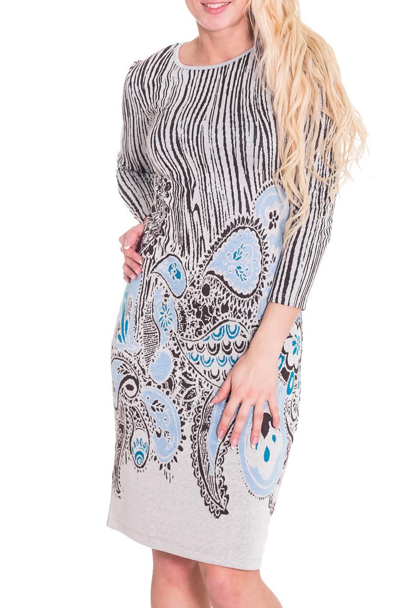 ПлатьеПлатья<br>Удобное женское платье полуприталенного силуэта. Модель выполнена из приятного трикотажа. Прекрасный вариант для повседневного гардероба.   Цвет: серый, черный, голубой  Рост девушки-фотомодели 170 см.<br><br>Горловина: С- горловина<br>По длине: До колена<br>По материалу: Вискоза,Трикотаж<br>По рисунку: Цветные,С принтом<br>По сезону: Весна,Осень<br>По силуэту: Приталенные<br>По стилю: Повседневный стиль<br>По форме: Платье - футляр<br>Рукав: Рукав три четверти<br>Размер : 44<br>Материал: Трикотаж<br>Количество в наличии: 1