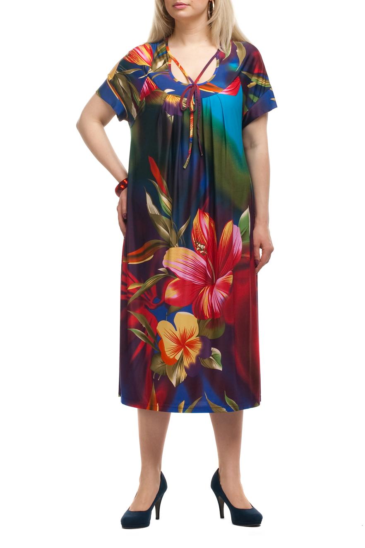 ПлатьеПлатья<br>Яркое платье прямого силуэта с короткими рукавами. Модель выполнена из струящегося трикотажа с цветочным принтом. Отличный выбор для любого случая.   Цвет: красный, зеленый, голубой, желтый  Рост девушки-фотомодели 173 см.<br><br>Горловина: С- горловина<br>По длине: Ниже колена<br>По материалу: Трикотаж<br>По рисунку: Растительные мотивы,С принтом,Цветные,Цветочные<br>По силуэту: Прямые<br>По стилю: Повседневный стиль<br>Рукав: Короткий рукав<br>По сезону: Лето<br>Размер : 52,58<br>Материал: Холодное масло<br>Количество в наличии: 2