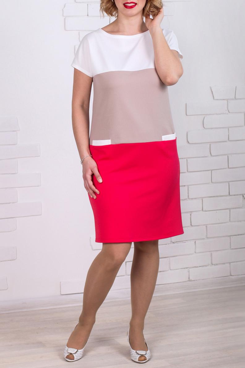 ПлатьеПлатья<br>Прекрасное платье прямого силуэта с карманами, выполнено из трикотажного полотна. Линия плеча приспущенная. Прямой силуэт скрадывает все недостатки фигуры, что делает модель удобной и комфортной. Ростовка изделия 164 см.  Длина изделия 97 см  Цвет: белый, бежевый, коралловый  Рост девушки-фотомодели 168 см<br><br>Горловина: С- горловина<br>По длине: До колена<br>По материалу: Трикотаж<br>По рисунку: С принтом,Цветные<br>По силуэту: Приталенные<br>По стилю: Повседневный стиль<br>По форме: Платье - футляр<br>По элементам: С карманами<br>Рукав: Короткий рукав<br>По сезону: Осень,Весна<br>Размер : 46,48,60,62,64,68<br>Материал: Трикотаж<br>Количество в наличии: 10