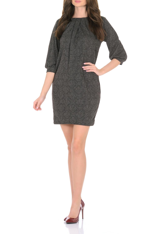 ПлатьеПлатья<br>Трикотажное платье от Rosa Blanco совмещает в себе комфорт и элегантность. Платье идеально подходит как для офиса, так и для более непринужденной обстановки. Модель нарочито лаконичного прямого кроя наделена неповторимой выразительностью благодаря изящному рельефному узору в тон. Складки у круглого выреза и рукава  на манжетаж подчеркивают женственную элегантность модели. В боковом шве расположены карманы. Простота кроя и минимум отделки позволят Вам поэкспериментировать с аксессуарами. Создавайте Ваш стиль с удовольствием.   Длина изделия 87-90 см.  В изделии использованы цвета: черный  Ростовка изделия 170 см.<br><br>Горловина: С- горловина<br>По длине: До колена<br>По материалу: Трикотаж<br>По рисунку: С принтом<br>По сезону: Зима,Осень,Весна<br>По силуэту: Полуприталенные<br>По стилю: Офисный стиль,Повседневный стиль<br>По форме: Платье - футляр<br>По элементам: С карманами,С манжетами,Со складками<br>Рукав: Рукав три четверти<br>Размер : 44,46,48,50<br>Материал: Трикотаж<br>Количество в наличии: 4
