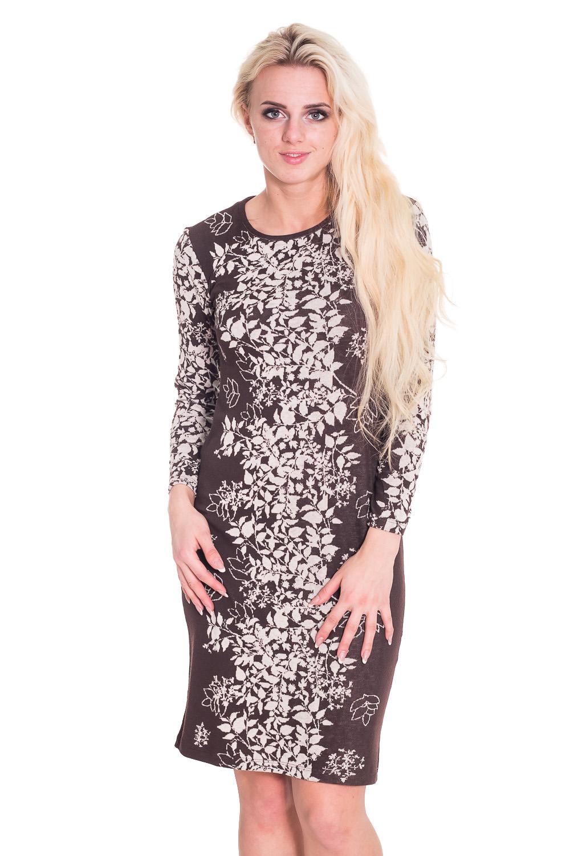 ПлатьеПлатья<br>Удобное женское платье полуприталенного силуэта. Модель выполнена из приятного трикотажа. Прекрасный вариант для повседневного гардероба.   Цвет: коричневый, бежевый  Рост девушки-фотомодели 170 см.<br><br>Горловина: С- горловина<br>По длине: До колена<br>По материалу: Вискоза,Трикотаж<br>По рисунку: Растительные мотивы,Цветные,Цветочные<br>По сезону: Весна,Осень<br>По силуэту: Приталенные<br>По стилю: Повседневный стиль<br>По форме: Платье - футляр<br>Рукав: Рукав три четверти<br>Размер : 46<br>Материал: Трикотаж<br>Количество в наличии: 1