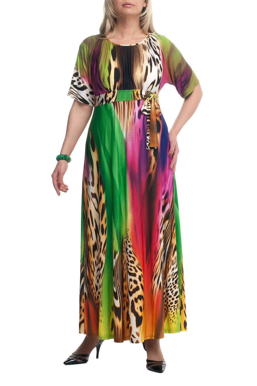 ПлатьеПлатья<br>Яркое платье в пол. Модель выполнена из приятного материала. Отличный выбор для летнего гардероба.  Цвет: мультицвет  Рост девушки-фотомодели 173 см.<br><br>По образу: Город,Свидание<br>По стилю: Повседневный стиль<br>По материалу: Трикотаж<br>По рисунку: С принтом,Цветные,Леопард<br>По сезону: Лето<br>По силуэту: Полуприталенные<br>По длине: Макси<br>Рукав: До локтя<br>Горловина: С- горловина<br>Размер: 52,54,56,58,60,62,66,68,70<br>Материал: 90% полиэстер 10% эластан<br>Количество в наличии: 8