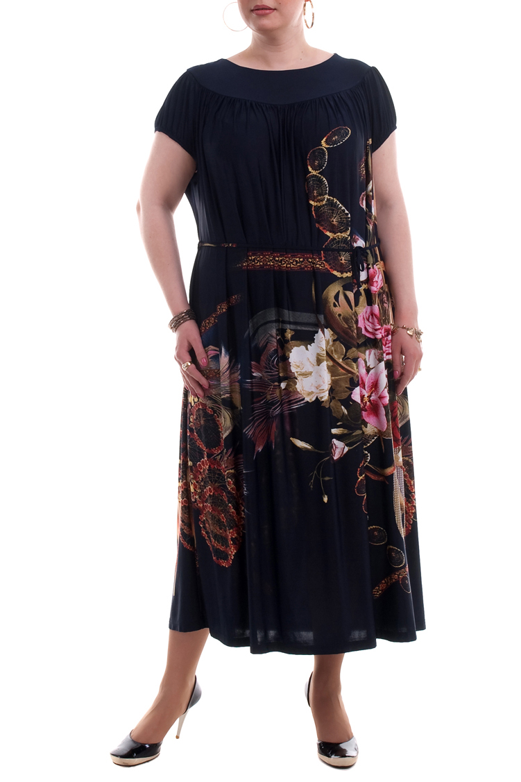 ПлатьеПлатья<br>Красивое платье длиной миди. Модель выполнена из приятного материала. Отличный выбор для летнего гардероба.  Цвет: синий, мультицвет  Рост девушки-фотомодели 173 см.<br><br>Горловина: С- горловина<br>По длине: Миди<br>По материалу: Трикотаж<br>По рисунку: Растительные мотивы,С принтом,Цветные,Цветочные<br>По силуэту: Полуприталенные<br>По стилю: Повседневный стиль<br>По форме: Платье - трапеция<br>Рукав: Короткий рукав<br>По сезону: Лето<br>Размер : 52,54,56,58,60,62,64,66,68<br>Материал: Холодное масло<br>Количество в наличии: 46