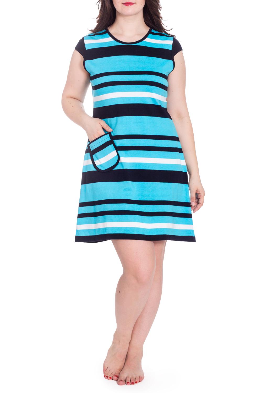 СарафанПлатья<br>Цветное платье с короткими рукавами. Домашняя одежда, прежде всего, должна быть удобной, практичной и красивой. В наших изделиях Вы будете чувствовать себя комфортно, особенно, по вечерам после трудового дня.  В изделии использованы цвета: голубой, темно-синий, белый  Рост девушки-фотомодели 180 см<br><br>Горловина: С- горловина<br>По длине: До колена<br>По рисунку: В полоску,С принтом,Цветные<br>По сезону: Весна,Зима,Лето,Осень,Всесезон<br>По силуэту: Полуприталенные<br>По элементам: С карманами<br>Рукав: Короткий рукав<br>По материалу: Трикотаж,Хлопок<br>Размер : 52,56<br>Материал: Трикотаж<br>Количество в наличии: 2