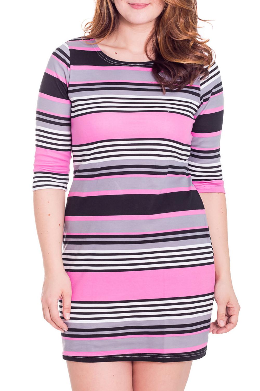 ПлатьеПлатья<br>Хлопковое домашнее платье с рукавами 3/4. Домашняя одежда, прежде всего, должна быть удобной, практичной и красивой. В платье Вы будете чувствовать себя комфортно, особенно, по вечерам после трудового дня.  Цвет: розовый, серый, фиолетовый  Рост девушки-фотомодели 180 см<br><br>Горловина: С- горловина<br>По рисунку: В полоску,Цветные,С принтом<br>По сезону: Лето,Осень,Весна<br>По силуэту: Полуприталенные<br>По форме: Платья<br>Рукав: Рукав три четверти<br>По длине: До колена<br>По материалу: Хлопок,Трикотаж<br>Размер : 46<br>Материал: Хлопок<br>Количество в наличии: 1