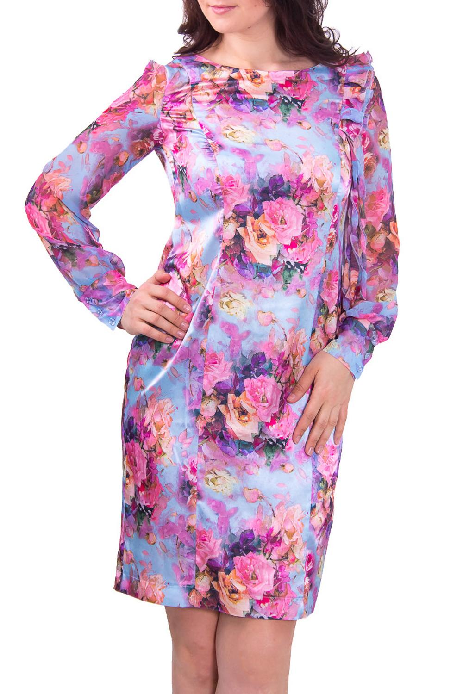 ПлатьеПлатья<br>Женское платье с горловиной лодочка и длинным рукавом. Модель выполнена из гладкого атласа с цветочным принтом. Отличный вариант для любого торжества.  Цвет: голубой с розовым  Рост девушки-фотомодели 180 см<br><br>По рисунку: Растительные мотивы,Цветные,Цветочные,С принтом<br>По сезону: Весна,Всесезон,Зима,Лето,Осень<br>Рукав: Длинный рукав<br>По форме: Платье - футляр<br>По материалу: Атлас,Шифон<br>По стилю: Романтический стиль,Нарядный стиль,Повседневный стиль<br>Горловина: С- горловина<br>По длине: До колена<br>По силуэту: Приталенные<br>По элементам: С манжетами,С разрезом<br>Разрез: Короткий<br>Размер : 44<br>Материал: Атлас + Шифон<br>Количество в наличии: 1