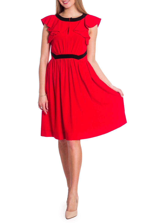 ПлатьеПлатья<br>Красное платье с черной отделкой. Модель выполнена из приятного материала. Отличный выбор для любого случая.  В изделии использованы цвета: красный, черный  Рост девушки-фотомодели 170 см.<br><br>Горловина: С- горловина<br>По длине: До колена<br>По материалу: Тканевые<br>По рисунку: Однотонные<br>По сезону: Весна,Лето<br>По силуэту: Полуприталенные<br>По стилю: Летний стиль,Повседневный стиль<br>По форме: Платье - трапеция<br>По элементам: С воланами и рюшами<br>Рукав: Без рукавов<br>Размер : 44,48<br>Материал: Плательная ткань<br>Количество в наличии: 2