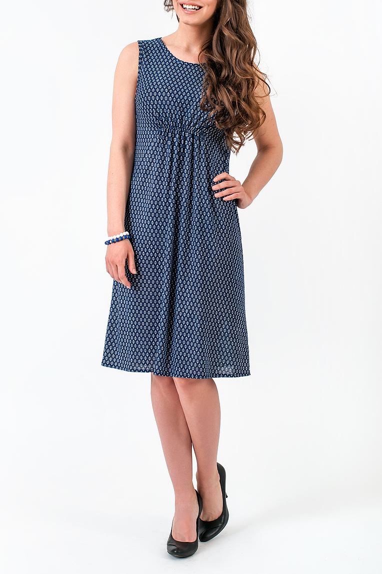 ПлатьеПлатья<br>Легкое платье из струящегося трикотажа. Это полотно обладает уникальными свойствами: не мнется, не выцветает, с приятным холодящим эффектом. Идеальное решение для лета. Округлый вырез горловины. Без рукава. Длина классическая.   В изделии использованы цвета: синий, белый  Ростовка изделия 170 см.<br><br>Горловина: С- горловина<br>По длине: До колена<br>По материалу: Трикотаж<br>По рисунку: С принтом,Цветные<br>По сезону: Весна,Лето<br>По силуэту: Полуприталенные<br>По стилю: Летний стиль,Повседневный стиль<br>По форме: Платье - трапеция<br>По элементам: С завышенной талией<br>Рукав: Без рукавов<br>Размер : 42,44,46,48<br>Материал: Холодное масло<br>Количество в наличии: 11
