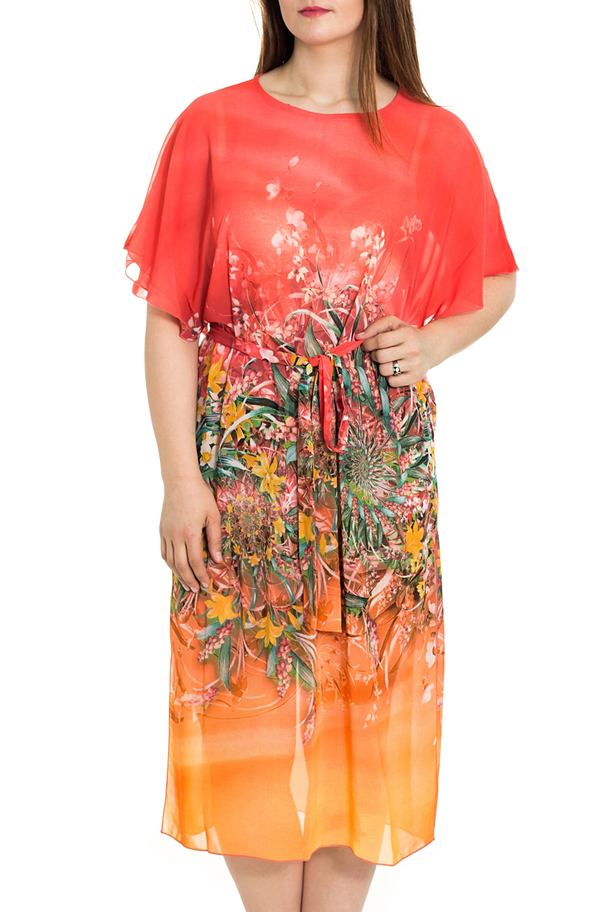 Платье-туникаПарео<br>Платье-туника из набивного шифона, длинная с поясом. Обработка краев - ролевой шов. Отличный вариант для пляжа.   Цвет: коралловый, оранжевый, мультицвет  Рост девушки-фотомодели 180 см.<br><br>По рисунку: Растительные мотивы,Цветные,Цветочные,С принтом<br>По сезону: Лето<br>По материалу: Шифон<br>Размер : 50-60<br>Материал: Шифон<br>Количество в наличии: 1