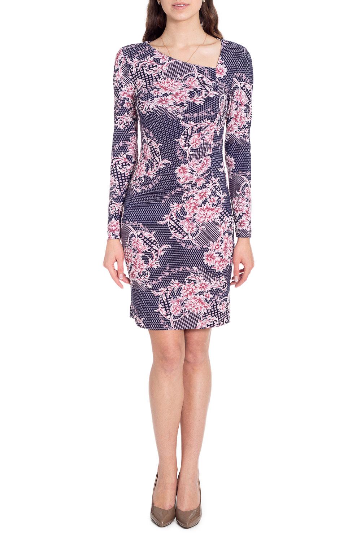 ПлатьеПлатья<br>Красивое платье с асимметричной горловиной и длинными рукавами. Модель выполнена из приятного трикотажа. Отличный выбор для повседневного гардероба.  В изделии использованы цвета: синий, розовый  Рост девушки-фотомодели 170 см<br><br>Горловина: Фигурная горловина<br>По длине: До колена<br>По материалу: Вискоза,Трикотаж<br>По образу: Город,Свидание<br>По рисунку: Растительные мотивы,С принтом,Цветные,Цветочные,Этнические<br>По силуэту: Приталенные<br>По стилю: Повседневный стиль<br>По форме: Платье - футляр<br>Рукав: Длинный рукав<br>По сезону: Осень,Весна<br>Размер : 44,46,48,50,52,54<br>Материал: Холодное масло<br>Количество в наличии: 10