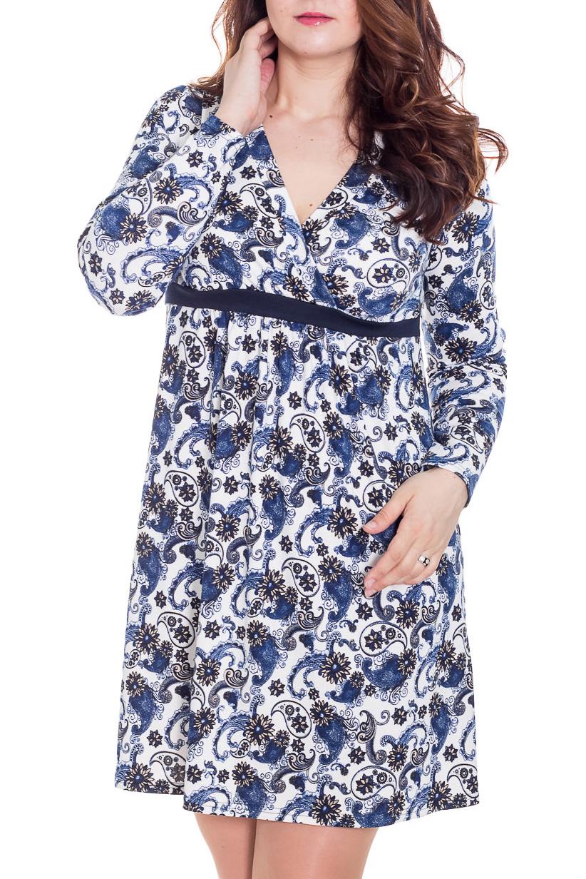 ПлатьеПлатья<br>Платье из трикотажа прямого силуэта с рисунком. Отрезной лиф с запахом прекрасно подчёркивает грудь, небольшая сборка на животик, даёт свободу растущему животику. Классическая длина платья будет удобна как в повседневной носке, так и для других важных событий. Покрой платья подойдёт большинству беременных мамочек. Можно носить на любом сроке беременности и после родов.  Цвет: синий, белый, черный  Замеры для 42 размера. Длина изделия: по спинке 89 см Длина рукава: 60 см  Ростовка изделия 170 см.  Рост девушки-фотомодели 180 см.<br><br>Горловина: V- горловина,Запах,С- горловина<br>По материалу: Вискоза,Трикотаж<br>По образу: Город,Свидание<br>По рисунку: Растительные мотивы,Цветные,Этнические,С принтом<br>По силуэту: Полуприталенные,Свободные<br>Рукав: Длинный рукав<br>По сезону: Осень,Весна<br>По стилю: Повседневный стиль<br>По форме: Беби - долл,Платье - трапеция<br>По элементам: С вырезом,С завышенной талией<br>Размер : 46,48,50<br>Материал: Трикотаж<br>Количество в наличии: 4