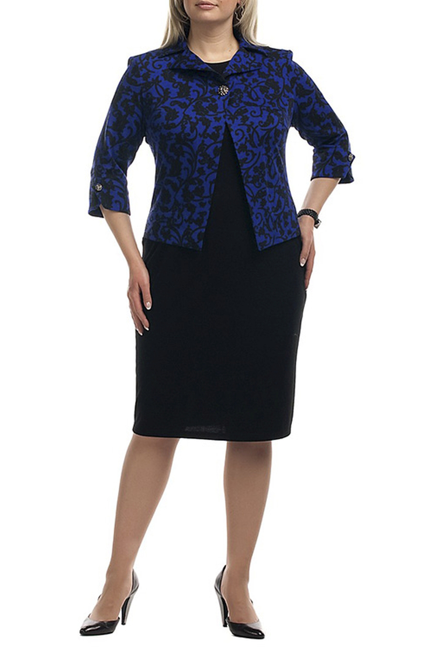 ПлатьеПлатья<br>Красивое платье с имитацией жакета. Модель выполнена из приятного трикотажа и украшена красивыми пуговицами. Отличный выбор для любого случая.  Цвет: черный, синий  Рост девушки-фотомодели 173 см.<br><br>Воротник: Отложной<br>Горловина: С- горловина<br>По длине: Ниже колена<br>По материалу: Вискоза,Трикотаж<br>По рисунку: Абстракция,Цветные,С принтом<br>По силуэту: Полуприталенные<br>По стилю: Повседневный стиль<br>По форме: Платье - футляр<br>По элементам: С декором,С отделочной фурнитурой<br>Рукав: Рукав три четверти<br>По сезону: Осень,Весна,Зима<br>Размер : 68<br>Материал: Трикотаж<br>Количество в наличии: 2