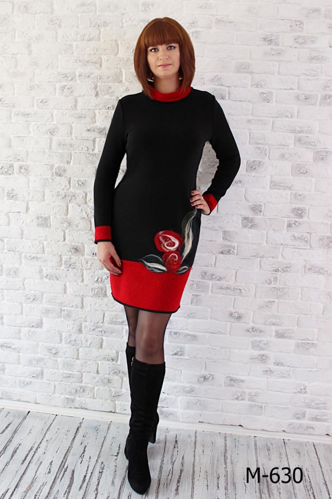 ПлатьеПлатья<br>Женское платье приталенного силуэта. Вязаный трикотаж - это красота, тепло и комфорт. В вязаных вещах очень легко оставаться женственной и в то же время не замёрзнуть. Принт может незначительно отличаться.  Цвет: черный, красный  Ростовка изделия 170 см.<br><br>Воротник: Стойка<br>По длине: До колена<br>По материалу: Вязаные,Трикотаж<br>По образу: Город,Свидание<br>По рисунку: Растительные мотивы,Цветные,Цветочные<br>По сезону: Зима<br>По силуэту: Полуприталенные<br>По стилю: Повседневный стиль<br>По форме: Платье - футляр<br>Рукав: Длинный рукав<br>Размер : 46,48,50,52,54,56<br>Материал: Вязаное полотно<br>Количество в наличии: 2