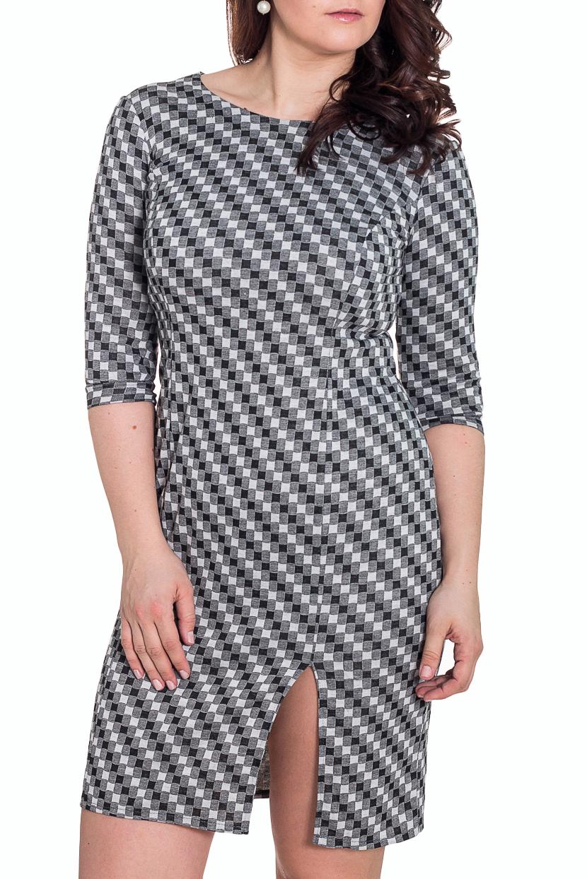 ПлатьеПлатья<br>Очаровательное платье футлярного типа с декоративным разрезом спереди. Модель выполнена из приятного трикотажа. Отличный выбор для повседневного гардероба.  Цвет: серый, белый, черный  Рост девушки-фотомодели 180 см.<br><br>Горловина: С- горловина<br>По длине: До колена<br>По материалу: Вискоза,Трикотаж<br>По образу: Город,Свидание<br>По рисунку: Геометрия,Цветные,С принтом<br>По стилю: Повседневный стиль<br>По форме: Платье - футляр<br>По элементам: С разрезом<br>Рукав: Рукав три четверти<br>По сезону: Осень,Весна,Зима<br>По силуэту: Приталенные<br>Разрез: Короткий<br>Размер : 48<br>Материал: Джерси<br>Количество в наличии: 1