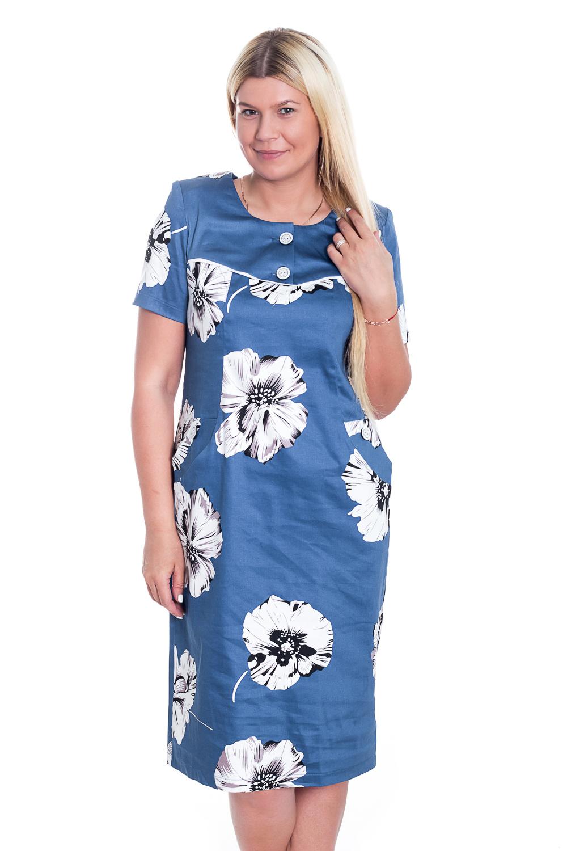 ПлатьеПлатья<br>Яркое платье с короткими рукавами. Модель выполнена из хлопкового материала с цветочным принтом. Отличный выбор для повседневного гардероба. Ростовка 164 см.  Цвет: синий, белый  Рост девушки-фотомодели 170 см.<br><br>Горловина: С- горловина<br>По длине: Ниже колена<br>По материалу: Хлопок<br>По образу: Город,Свидание<br>По рисунку: Растительные мотивы,С принтом,Цветные,Цветочные<br>По силуэту: Полуприталенные<br>По стилю: Повседневный стиль<br>По форме: Платье - футляр<br>Рукав: Короткий рукав<br>По сезону: Лето<br>Размер : 50,54,56,58<br>Материал: Хлопок<br>Количество в наличии: 3
