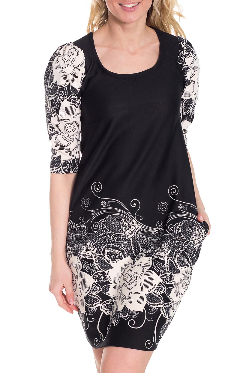 ПлатьеПлатья<br>Прекрасное платье с цветочным принтом. Модель выполнена из приятного трикотажа. Отличный выбор для повседневного гардероба.  Цвет: черный, белый, серый  Рост девушки-фотомодели 170 см.<br><br>Горловина: С- горловина<br>По длине: До колена<br>По материалу: Трикотаж<br>По рисунку: Растительные мотивы,С принтом,Цветные,Цветочные<br>По сезону: Весна,Осень,Зима<br>По силуэту: Полуприталенные<br>По элементам: С карманами<br>По стилю: Повседневный стиль<br>По форме: Платье - баллон<br>Рукав: Рукав три четверти<br>Размер : 42,44<br>Материал: Джерси<br>Количество в наличии: 2