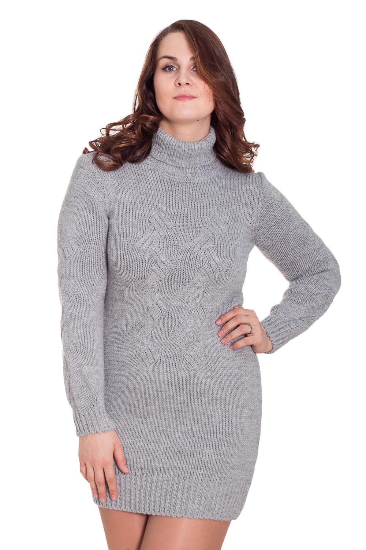 ПлатьеПлатья<br>Теплое вязаное платье приталенного силуэта. Модель станет идеальным дополнением к Вашему повседневному гардеробу. Цвет: серый.  Рост девушки-фотомодели 180 см<br><br>По образу: Свидание,Город,Офис<br>По стилю: Повседневный стиль,Кэжуал,Офисный стиль<br>По материалу: Вязаные<br>По рисунку: Однотонные<br>По сезону: Зима<br>По силуэту: Приталенные<br>По элементам: С воротником<br>По форме: Платье - футляр<br>По длине: До колена<br>Воротник: Стойка<br>Рукав: Длинный рукав<br>Размер: 48<br>Материал: 75% акрил 15% полиамид 10% шерсть<br>Количество в наличии: 1