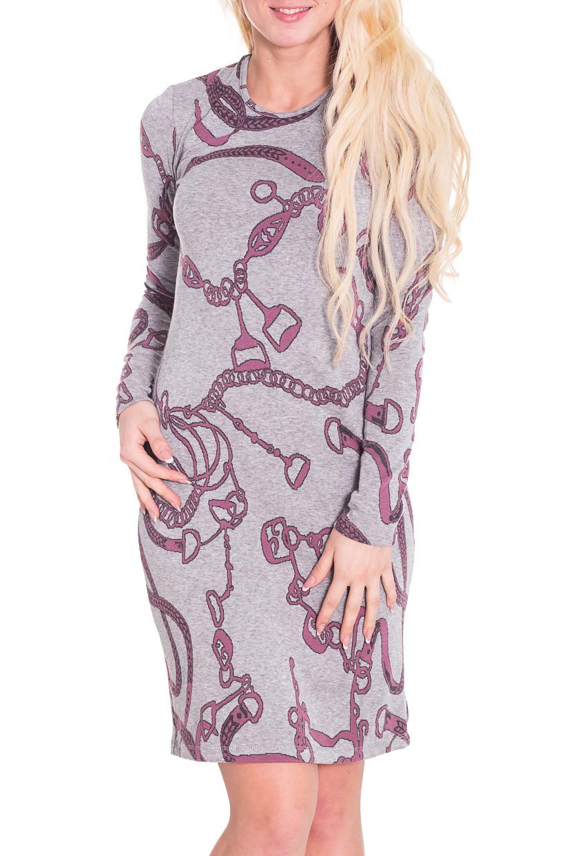 ПлатьеПлатья<br>Удобное женское платье полуприталенного силуэта. Модель выполнена из приятного трикотажа. Прекрасный вариант для повседневного гардероба.   Цвет: серый, розовый  Рост девушки-фотомодели 170 см.<br><br>Горловина: С- горловина<br>По длине: До колена<br>По материалу: Вискоза,Трикотаж<br>По рисунку: Абстракция,Цветные<br>По сезону: Зима<br>По силуэту: Приталенные<br>По стилю: Повседневный стиль<br>По форме: Платье - футляр<br>Рукав: Длинный рукав<br>Размер : 44<br>Материал: Трикотаж<br>Количество в наличии: 1