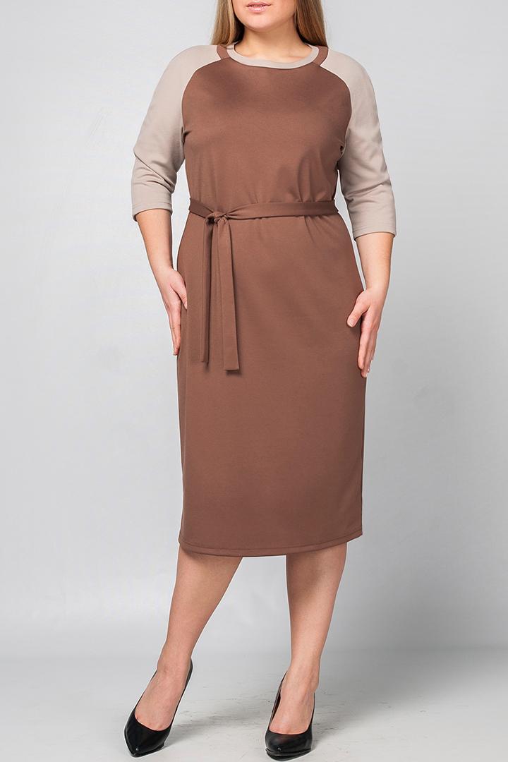 ПлатьеПлатья<br>Классическое прямое платье из плотного трикотажа, прилегающего силуэта, которое подчёркивает достоинства фигуры. Прямое платье – обязательный предмет в гардеробе каждой женщины, оно универсально. Классическое сочетание цветов делает модель более повседневным, подходящим для работы в офисе. Платье без пояса.  Параметры изделия:  44 размер: обхват груди - 95 см. обхват по линии бедер - 98 см. длина изделия - 101 см. для 52 размер: обхват груди - 111 см. обхват по линии бедер - 114 см. длина изделия - 113 см.  В изделии использованы цвета: коричневый, бежевый  Рост девушки-фотомодели 175 см<br><br>Горловина: С- горловина<br>По длине: Ниже колена<br>По материалу: Трикотаж<br>По рисунку: Цветные<br>По силуэту: Полуприталенные<br>По стилю: Классический стиль,Кэжуал,Офисный стиль,Повседневный стиль<br>По форме: Платье - футляр<br>Рукав: Рукав три четверти<br>По сезону: Осень,Весна<br>Размер : 48,54,56<br>Материал: Трикотаж<br>Количество в наличии: 3