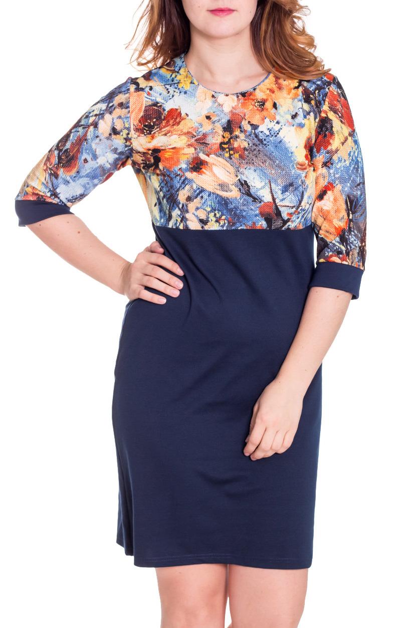 ПлатьеПлатья<br>Красивое платье с круглой горловиной и рукавами 3/4. Модель выполнена из плотного трикотажа. Отличный выбор для повседневного гардероба.  Цвет: синий, мультицвет  Рост девушки-фотомодели 180 см.<br><br>Горловина: С- горловина<br>По длине: До колена<br>По материалу: Вискоза,Трикотаж<br>По образу: Город,Свидание<br>По рисунку: Цветные,Растительные мотивы,С принтом,Цветочные<br>По сезону: Весна,Осень<br>По силуэту: Полуприталенные<br>По стилю: Повседневный стиль<br>По форме: Платье - футляр<br>По элементам: С разрезом,С манжетами<br>Рукав: Рукав три четверти<br>Размер : 52,54,58<br>Материал: Джерси<br>Количество в наличии: 3