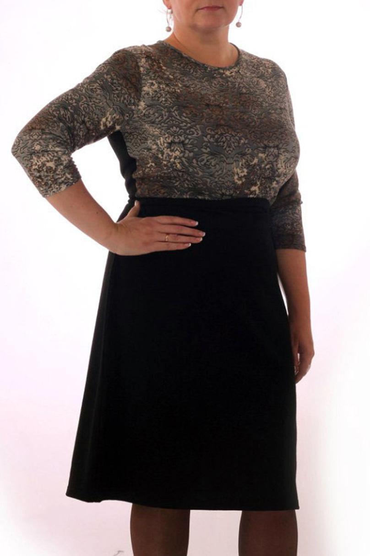 ПлатьеПлатья<br>Удобное женское платье полуприталенного силуэта. Модель выполнена из приятного трикотажа. Прекрасный вариант для повседневного гардероба.   Цвет: черный, бежевый, коричневый  Рост девушки-фотомодели 164 см.<br><br>Горловина: С- горловина<br>По материалу: Вискоза,Трикотаж<br>По рисунку: Цветные,С принтом<br>По сезону: Весна,Осень,Зима<br>По силуэту: Приталенные,Полуприталенные<br>По стилю: Повседневный стиль<br>Рукав: Рукав три четверти<br>По длине: До колена<br>По форме: Платье - трапеция<br>По элементам: С завышенной талией<br>Размер : 46,48,50<br>Материал: Трикотаж<br>Количество в наличии: 7