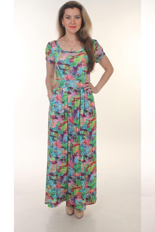 ПлатьеПлатья<br>Цветное платье в пол с круглой горловиной и короткими рукавами. Модель выполнена из приятного трикотажа с цветочным принтом. Отличный выбор для повседневного гардероба.  Цвет: зеленый, голубой, розовый, сиреневый  Длина изделия от плеча: 44 размер - 128 см 46 размер - 129 см 48 размер - 130 см 50 размер - 131 см 52 размер - 132 см 54 размер - 133 см 56 размер - 134 см  Длина рукава 18 см.  Рост девушки-фотомодели 163 см<br><br>По образу: Свидание,Город<br>По стилю: Повседневный стиль<br>По материалу: Вискоза,Трикотаж<br>По рисунку: Растительные мотивы,С принтом,Цветные,Цветочные<br>По сезону: Лето<br>По силуэту: Полуприталенные<br>По длине: Макси<br>Рукав: Короткий рукав<br>Горловина: С- горловина<br>Размер: 44,50,52,54,56,46,48<br>Материал: 50% вискоза 50% полиэстер<br>Количество в наличии: 6