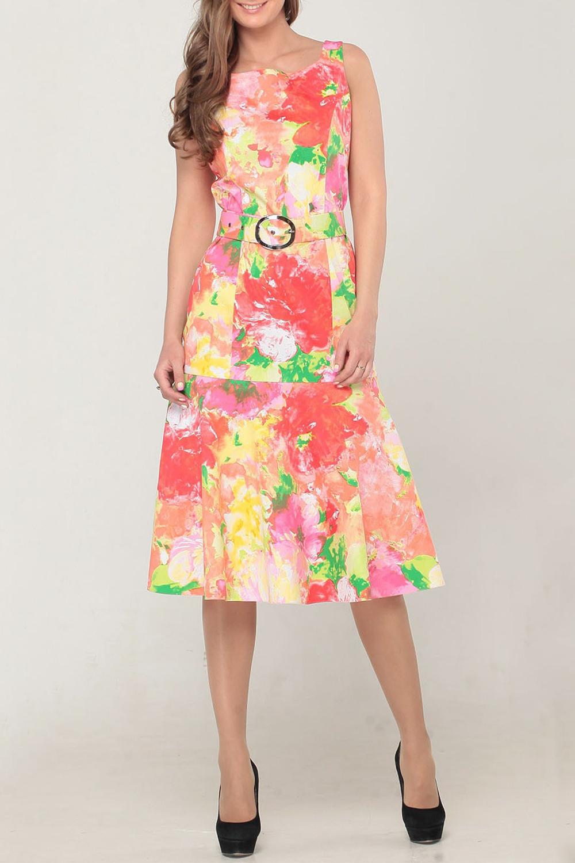 ПлатьеПлатья<br>Женское платье без рукавов с элегантной горловиной. Модель выполнена из хлопкового материала с акварельным принтом. Отличный выбор для повседневного гардероба. Платье без пояса.  Цвет: коралловый, желтый, зеленый<br><br>По материалу: Хлопок<br>По образу: Город,Свидание<br>По рисунку: Цветные,С принтом<br>По сезону: Лето<br>По силуэту: Полуприталенные<br>По стилю: Повседневный стиль<br>Рукав: Без рукавов<br>По длине: Ниже колена<br>Горловина: С- горловина<br>По форме: Платье - трапеция<br>Размер : 44<br>Материал: Хлопок<br>Количество в наличии: 1