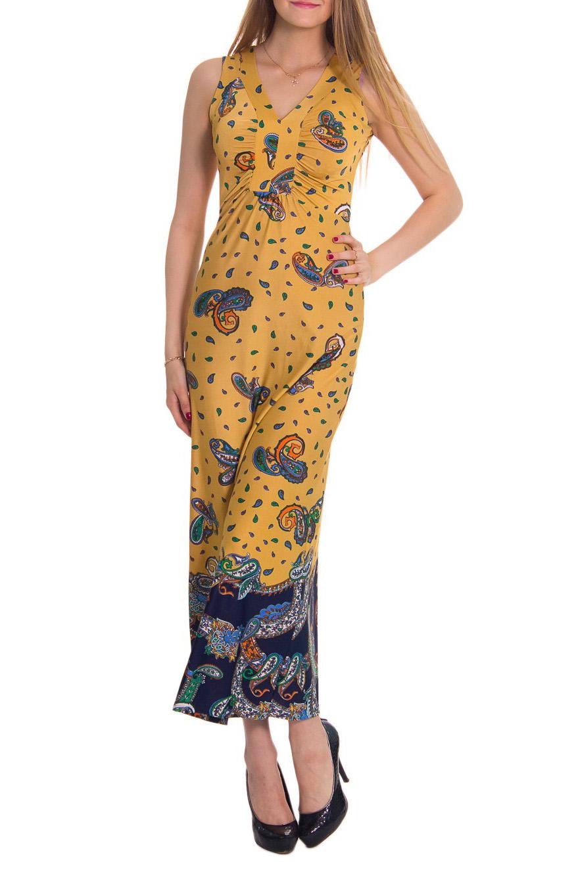 ПлатьеПлатья<br>Женское платье в пол с V-образной горловиной. Модель выполнена из приятного материала. Отличный выбор для повседневного гардероба.  Цвет: желтый, синий  Рост девушки-фотомодели - 176 см<br><br>Горловина: V- горловина<br>По длине: Макси<br>По материалу: Вискоза,Трикотаж<br>По рисунку: Абстракция,Цветные,С принтом<br>По силуэту: Полуприталенные<br>По стилю: Летний стиль,Повседневный стиль<br>Рукав: Без рукавов<br>По сезону: Лето<br>По форме: Платье - футляр<br>Размер : 44<br>Материал: Вискоза<br>Количество в наличии: 1