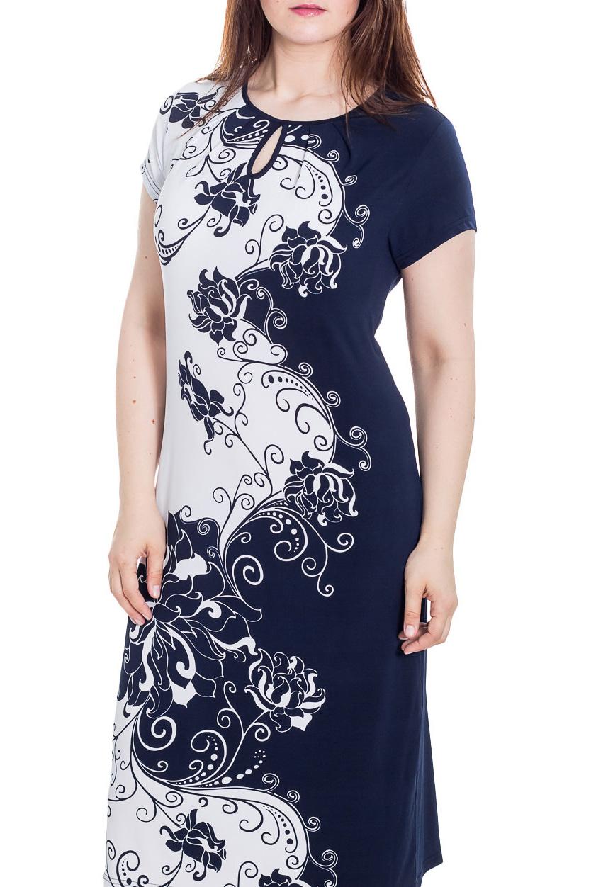 ПлатьеПлатья<br>Великолепное платье с короткими рукавами. Модель выполнена из приятного материала. Отличный выбор для любого случая.  Цвет: синий, белый  Рост девушки-фотомодели 180 см.<br><br>Горловина: С- горловина<br>По длине: Ниже колена<br>По материалу: Вискоза,Трикотаж<br>По образу: Город,Свидание<br>По рисунку: С принтом,Цветные<br>По силуэту: Приталенные<br>По стилю: Повседневный стиль<br>Рукав: Короткий рукав<br>По сезону: Лето<br>Размер : 64<br>Материал: Вискоза<br>Количество в наличии: 1