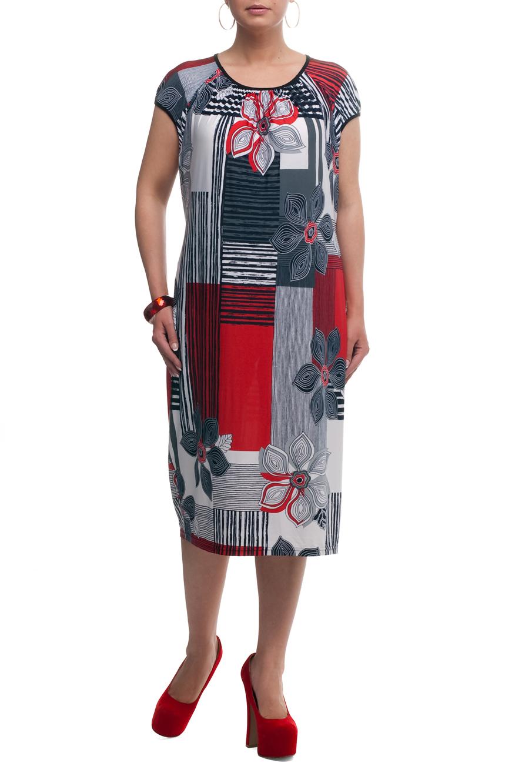 ПлатьеПлатья<br>Великолепное платье с короткими рукавами. Модель выполнена из струящегося трикотажа. Отличный выбор для любого случая.  Цвет: синий, серый, белый, красный  Рост девушки-фотомодели 173 см<br><br>Горловина: С- горловина<br>По длине: Ниже колена<br>По материалу: Трикотаж<br>По рисунку: Растительные мотивы,С принтом,Цветные,Цветочные<br>По силуэту: Полуприталенные<br>По стилю: Повседневный стиль,Летний стиль<br>Рукав: Короткий рукав<br>По сезону: Лето<br>Размер : 56,58,64,66<br>Материал: Холодное масло<br>Количество в наличии: 5