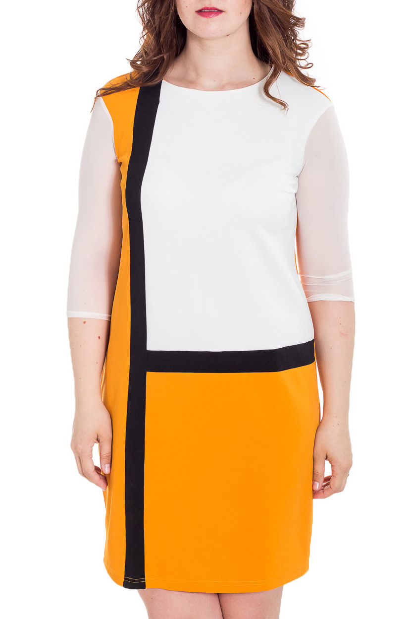 ПлатьеПлатья<br>Прекрасное платье полуприталенного силуэта, выполнено из трикотажного полотна. Полуприталенный силуэт и геометрический принт скрадывают все недостатки фигуры, что делает модель удобной и комфортной.  Цвет: белый, желтый, черный  Рост девушки-фотомодели 180 см<br><br>Горловина: С- горловина<br>По длине: До колена<br>По материалу: Трикотаж<br>По образу: Город,Свидание<br>По рисунку: Цветные<br>По силуэту: Полуприталенные<br>По стилю: Повседневный стиль<br>По форме: Платье - футляр<br>Рукав: Рукав три четверти<br>По сезону: Осень,Весна<br>Размер : 50,52,54,56,58,60<br>Материал: Трикотаж<br>Количество в наличии: 17