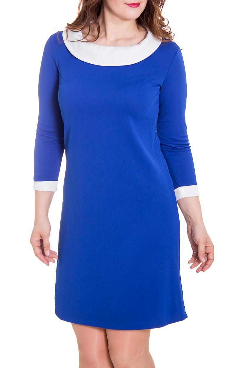 ПлатьеПлатья<br>Прелестное женское платье, которое станет идеальным дополнением к Вашему повседневному гардеробу.  Цвет: синий, белый.  Рост девушки-фотомодели 180 см<br><br>Воротник: Отложной<br>По длине: До колена<br>По материалу: Трикотаж<br>По рисунку: Однотонные<br>По силуэту: Полуприталенные<br>По стилю: Классический стиль,Кэжуал,Офисный стиль,Повседневный стиль<br>По форме: Платье - футляр<br>По элементам: С воротником,С декором,С манжетами<br>Рукав: Рукав три четверти<br>По сезону: Осень,Весна,Зима<br>Размер : 46,48<br>Материал: Трикотаж<br>Количество в наличии: 2