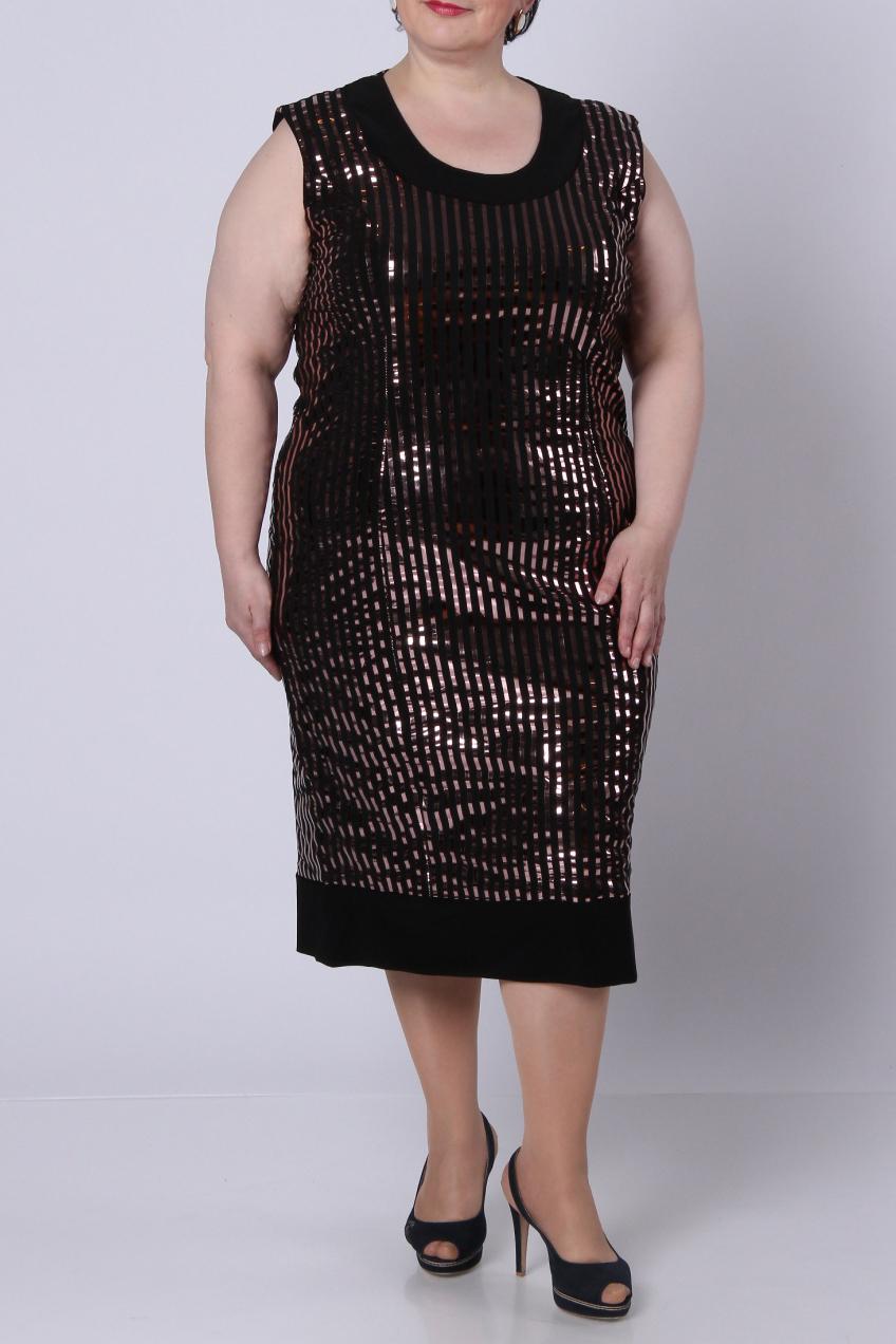 ПлатьеПлатья<br>Нарядное платье из трикотажа с эффектом «металлик». Силуэт – облегающий. Спинка изделия из основной ткани в полоску.  Длина по спинке – 110 см.  Цвет: черный, бронзовый  Рост девушки-фотомодели 164 см.<br><br>Горловина: С- горловина<br>По длине: Ниже колена<br>По материалу: Вискоза,Трикотаж<br>По образу: Свидание<br>По рисунку: В полоску,Цветные,С принтом<br>По сезону: Весна,Всесезон,Зима,Лето,Осень<br>По силуэту: Полуприталенные<br>По стилю: Нарядный стиль,Повседневный стиль<br>По форме: Платье - футляр<br>Рукав: Без рукавов<br>Размер : 56,64<br>Материал: Холодное масло<br>Количество в наличии: 2
