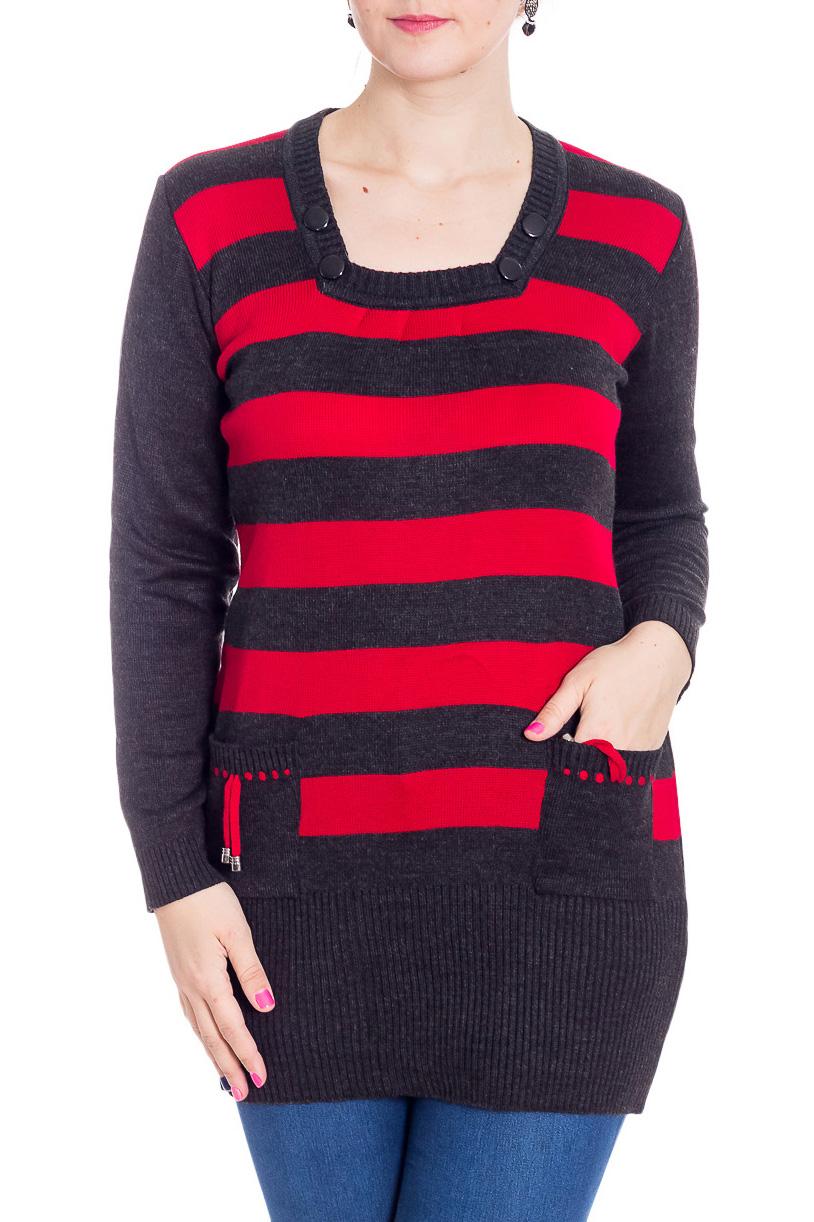 ПлатьеТуники<br>Цветная туника с длинными рукавами. Модель выполнена из вязаного трикотажа. Вязаный трикотаж - это красота, тепло и комфорт. В вязаных вещах очень легко оставаться женственной и в то же время не замёрзнуть.  В изделии использованы цвета: черный, красный  Рост девушки-фотомодели 180 см<br><br>Горловина: Квадратная горловина<br>По материалу: Шерсть<br>По рисунку: В полоску,С принтом,Цветные<br>По сезону: Осень,Зима<br>По силуэту: Приталенные<br>По стилю: Повседневный стиль<br>По элементам: С карманами<br>Рукав: Длинный рукав<br>Размер : 50,52,54,56<br>Материал: Вязаное полотно<br>Количество в наличии: 17