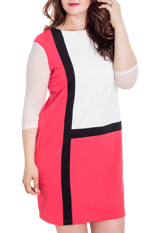 ПлатьеПлатья<br>Прекрасное платье полуприталенного силуэта, выполнено из трикотажного полотна. Полуприталенный силуэт и геометрический принт скрадывают все недостатки фигуры, что делает модель удобной и комфортной.  Цвет: белый, коралловый, черный  Рост девушки-фотомодели 180 см<br><br>Горловина: С- горловина<br>По длине: До колена<br>По материалу: Трикотаж<br>По рисунку: Цветные<br>По силуэту: Полуприталенные<br>По стилю: Повседневный стиль<br>По форме: Платье - футляр<br>Рукав: Рукав три четверти<br>По сезону: Осень,Весна<br>Размер : 50,52,54,56,58,60<br>Материал: Трикотаж<br>Количество в наличии: 17