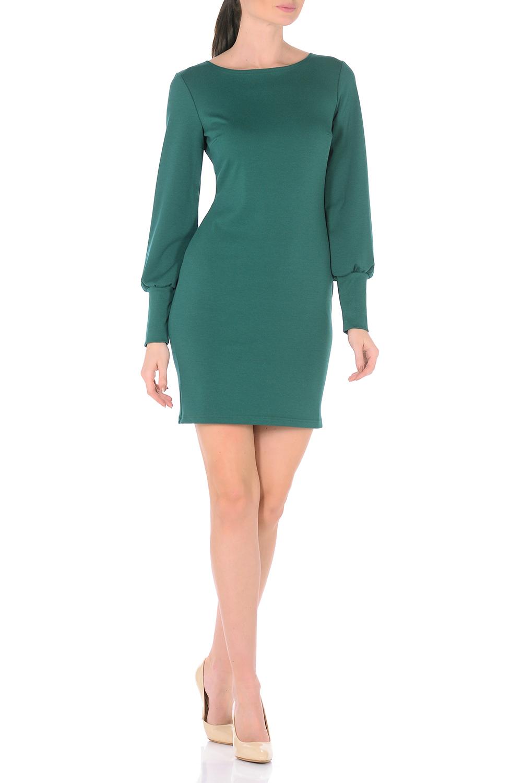 ПлатьеПлатья<br>Создавать женственные образы каждый день легко, если в Вашем гардеробе есть это повседневное платье. Нарочито лаконичная модель полуприталенного силуэта с классическим вырезом-лодочкой, искусно обрисовывающая изящные изгибы фигуры, приобретает особую выразительность благодаря длинным рукавам расширенным к низу со сборкой по широкой манжете. В области груди вытачки для оптимальной посадки по фигуре. Дополняя платье различными аксессуарами, можно легко трансформировать повседневный наряд в вечерний. Ткань плотный трикотаж с высоким содержанием вискозы.  Длина изделия 92-95 см. в зависимости от размера.  В изделии использованы цвета: зеленый  Рост девушки-фотомодели 170 см.<br><br>Горловина: Лодочка<br>По длине: До колена<br>По материалу: Трикотаж<br>По рисунку: Однотонные<br>По сезону: Весна,Осень,Зима<br>По силуэту: Приталенные<br>По стилю: Офисный стиль,Повседневный стиль<br>По форме: Платье - футляр<br>По элементам: С манжетами<br>Рукав: Длинный рукав<br>Размер : 44,46,48,50<br>Материал: Джерси<br>Количество в наличии: 4