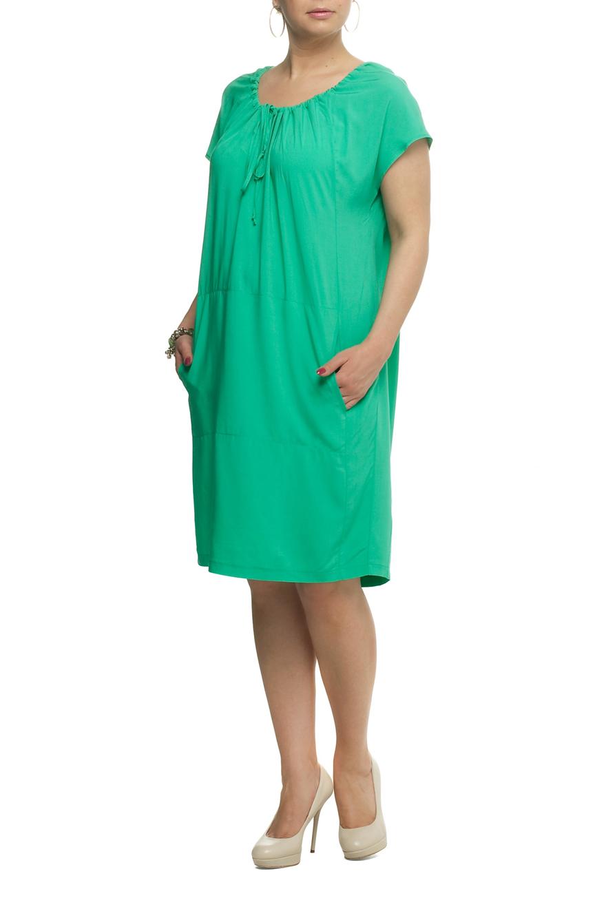 ПлатьеПлатья<br>Великолепное платье с короткими рукавами. Модель выполнена из приятного материала. Отличный выбор для любого случая.  Цвет: зеленый  Рост девушки-фотомодели 173 см<br><br>Горловина: С- горловина<br>По длине: Ниже колена<br>По материалу: Тканевые<br>По образу: Город,Свидание<br>По рисунку: Однотонные<br>По силуэту: Полуприталенные<br>По стилю: Повседневный стиль<br>По элементам: С карманами<br>Рукав: Короткий рукав<br>По сезону: Лето<br>Размер : 54,56,60,62,70<br>Материал: Вискоза<br>Количество в наличии: 5