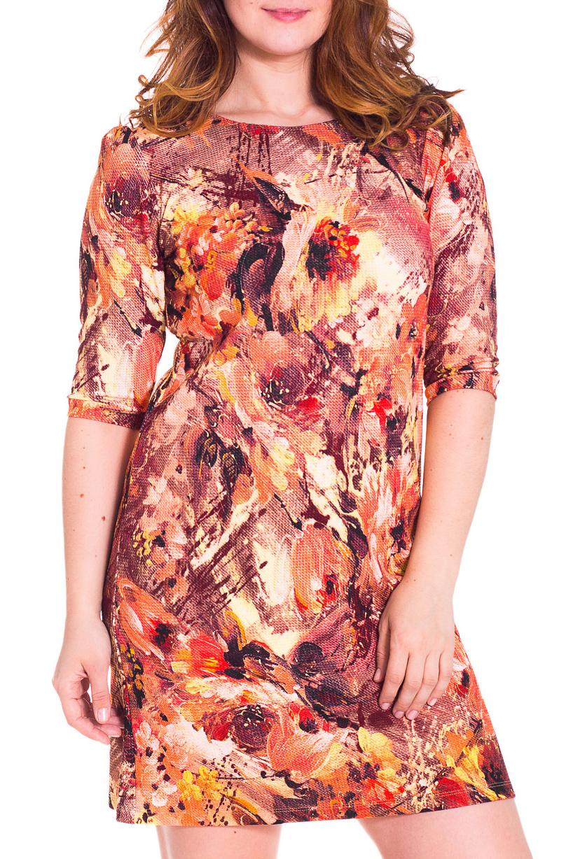 ПлатьеПлатья<br>Прекрасное платье с круглой горловиной и рукавами 3/4. Модель полуприталенного силуэта, выполнена из плотного трикотажа. Отличный выбор для повседневного гардероба.  Цвет: оранжевый, желтый, красный  Рост девушки-фотомодели 180 см.<br><br>Горловина: С- горловина<br>По длине: До колена<br>По материалу: Вискоза,Трикотаж<br>По рисунку: Растительные мотивы,Цветные,Цветочные,С принтом<br>По сезону: Весна,Осень,Зима<br>По силуэту: Полуприталенные<br>По стилю: Повседневный стиль<br>По форме: Платье - трапеция<br>Рукав: Рукав три четверти<br>Размер : 48,50,52<br>Материал: Трикотаж<br>Количество в наличии: 4