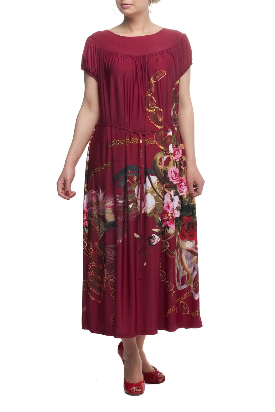 ПлатьеПлатья<br>Яркое платье свободного кроя - это дивный вариант на лето. Платье с округлым вырезом горловины и короткими рукавами. Украшена модель ярким принтом.Платье без пояса.В изделии использованы цвета: бордовый, зеленый и др. Рост девушки-фотомодели 173 см<br><br>Горловина: С- горловина<br>Рукав: Короткий рукав<br>Длина: Миди,Ниже колена<br>Материал: Трикотаж<br>Рисунок: Растительные мотивы,С принтом,Цветные,Цветочные<br>Сезон: Лето<br>Силуэт: Прямые<br>Стиль: Повседневный стиль<br>Размер : 54,56,58,66<br>Материал: Холодное масло<br>Количество в наличии: 14