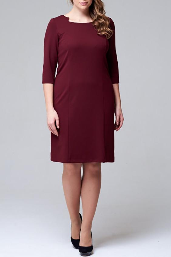 ПлатьеПлатья<br>Прекрасное платье с фигурной горловиной и рукавами 3/4. Модель выполнена из приятного трикотажа. Отличный выбор для повседневного гардероба.  Цвет: бордовый  Рост девушки-фотомодели - 171 см<br><br>По длине: До колена<br>По материалу: Трикотаж<br>По рисунку: Однотонные<br>По сезону: Весна,Осень,Зима<br>По силуэту: Полуприталенные<br>По стилю: Повседневный стиль<br>Рукав: Рукав три четверти<br>Горловина: Фигурная горловина<br>По форме: Платье - футляр<br>Размер : 48<br>Материал: Джерси<br>Количество в наличии: 1