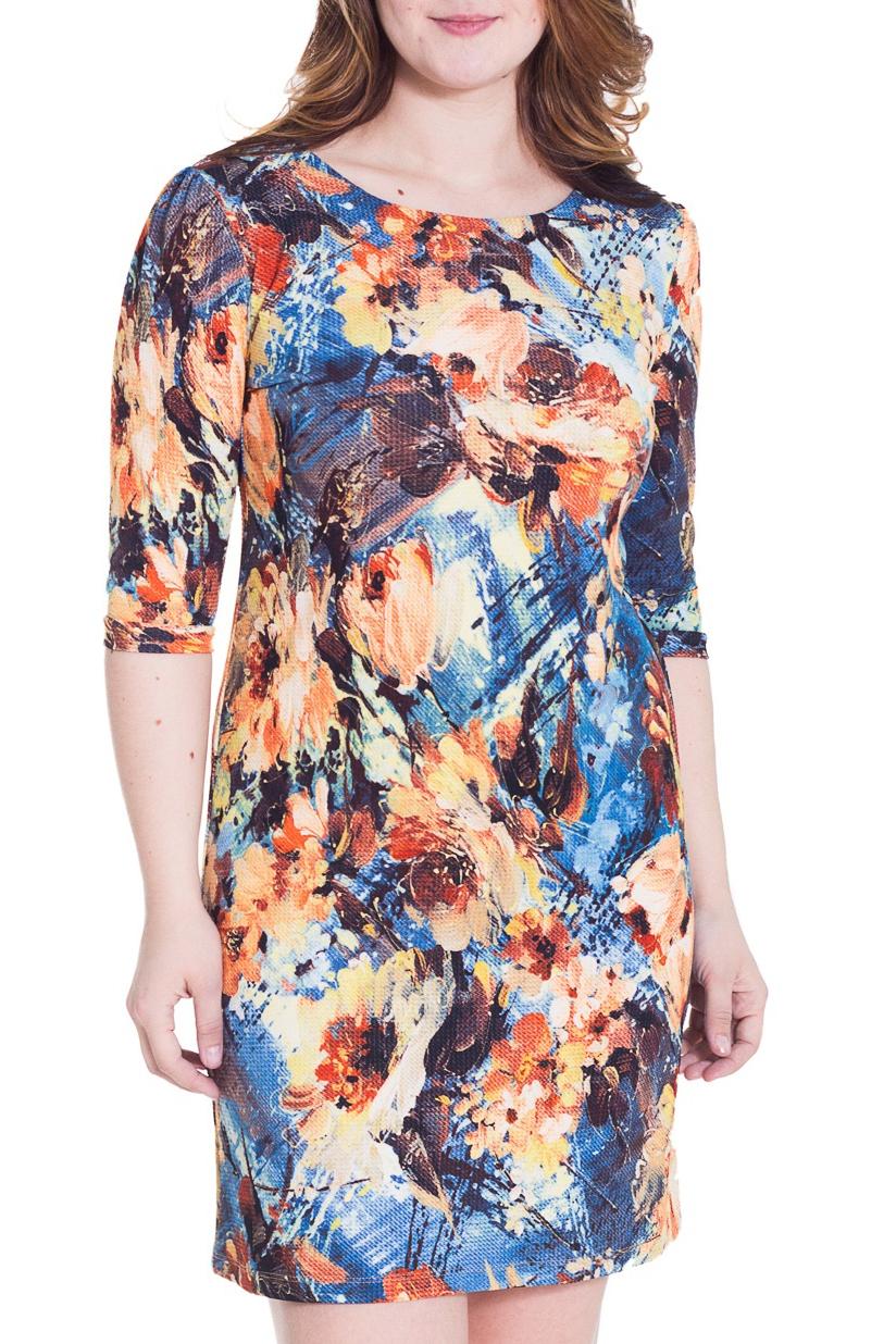ПлатьеПлатья<br>Прекрасное платье с круглой горловиной и рукавами 3/4. Модель полуприталенного силуэта, выполнена из плотного трикотажа. Отличный выбор для повседневного гардероба.  Цвет: синий, голубой, оранжевый и др.  Рост девушки-фотомодели 180 см.<br><br>Горловина: С- горловина<br>По длине: До колена<br>По материалу: Трикотаж<br>По рисунку: Растительные мотивы,Цветные,Цветочные,Абстракция,С принтом<br>По сезону: Весна,Осень,Зима<br>По силуэту: Полуприталенные<br>По стилю: Повседневный стиль<br>Рукав: Рукав три четверти<br>По форме: Платье - футляр<br>Размер : 48,52<br>Материал: Трикотаж<br>Количество в наличии: 3