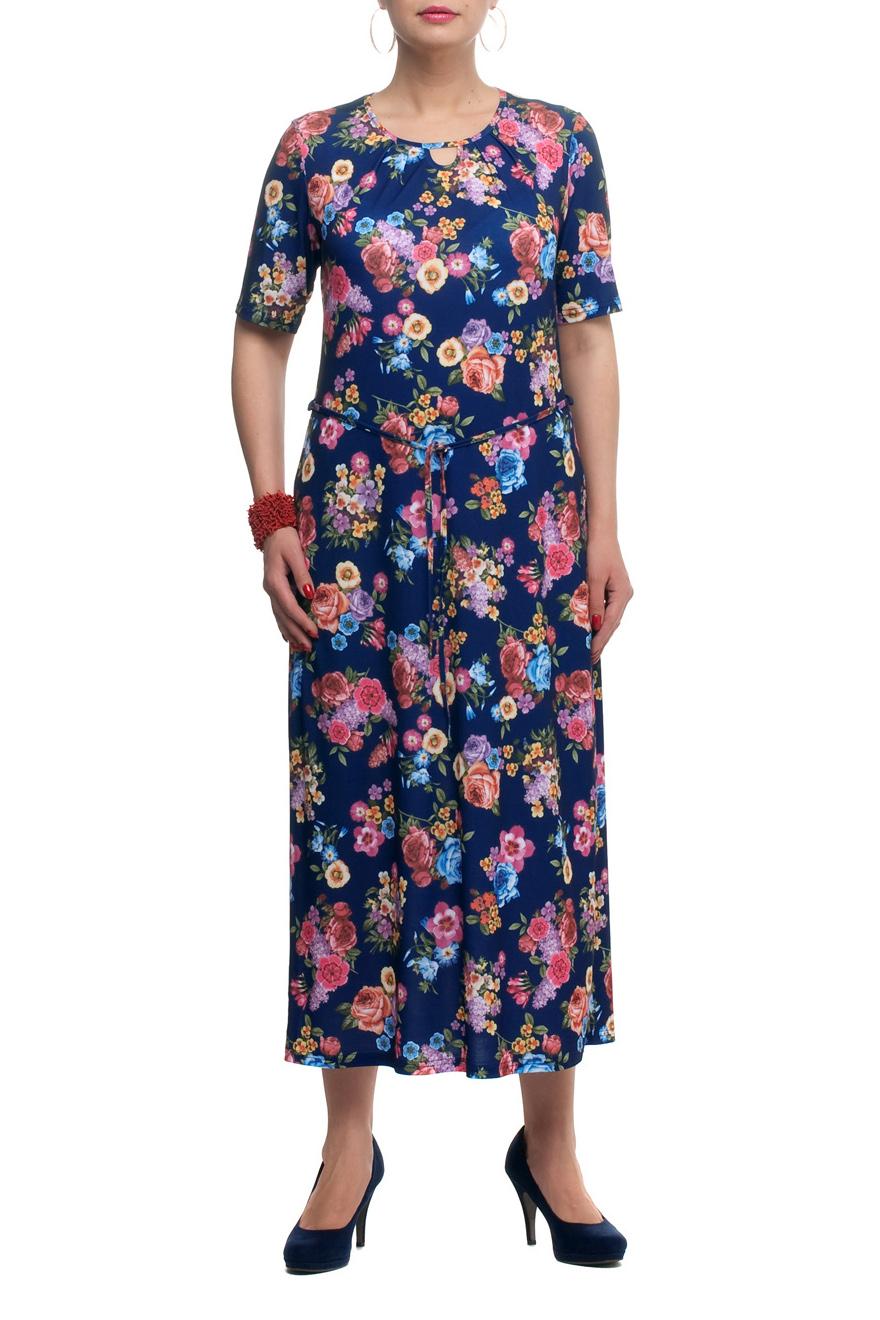 ПлатьеПлатья<br>Яркое платье прямого кроя - это дивный вариант на лето. Платье с округлым вырезом горловины и короткими рукавами. Украшена модель ярким принтом.  В изделии использованы цвета: синий, розовый, голубой и др.   Рост девушки-фотомодели 173 см<br><br>Горловина: С- горловина<br>По длине: Миди<br>По материалу: Трикотаж<br>По рисунку: Растительные мотивы,С принтом,Цветные,Цветочные<br>По силуэту: Прямые<br>По стилю: Повседневный стиль<br>По форме: Платье - футляр<br>Рукав: До локтя,Короткий рукав<br>По сезону: Лето<br>Размер : 48,50,60,66<br>Материал: Трикотаж<br>Количество в наличии: 8