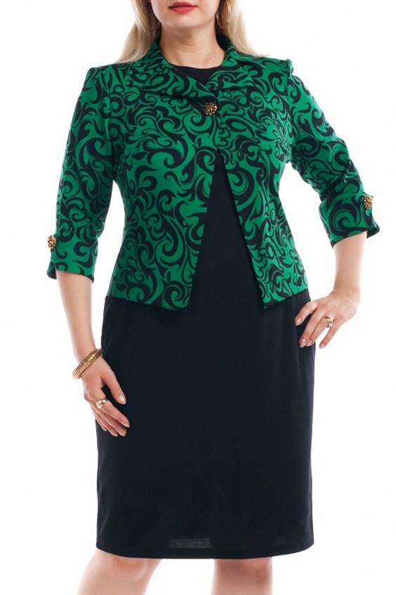 ПлатьеПлатья<br>Нарядное платье с имитацией жакета. Модель выполнена из приятного материала. Отличный выбор для любого торжества.  Цвет: черный, зеленый  Рост девушки-фотомодели 173 см.<br><br>Горловина: С- горловина<br>По длине: До колена<br>По материалу: Трикотаж<br>По рисунку: С принтом,Цветные<br>По силуэту: Приталенные<br>По стилю: Повседневный стиль<br>По форме: Платье - футляр<br>Рукав: Рукав три четверти<br>По сезону: Осень,Весна,Зима<br>Размер : 70<br>Материал: Трикотаж<br>Количество в наличии: 1