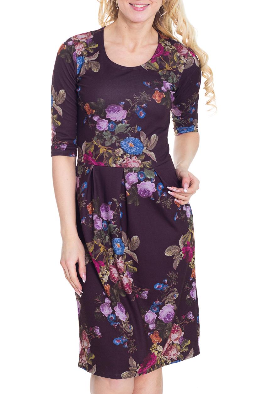 ПлатьеПлатья<br>Красивое платье с круглой горловиной и рукавами до локтя. Модель приталенного силуэта, выполнена из плотного трикотажа. Отличный выбор для повседневного гардероба.  Цвет: фиолетовый, мультицвет  Рост девушки-фотомодели 170 см.<br><br>Горловина: С- горловина<br>По длине: Ниже колена<br>По материалу: Вискоза,Трикотаж<br>По рисунку: Растительные мотивы,Цветные,Цветочные,С принтом<br>По силуэту: Полуприталенные<br>По стилю: Повседневный стиль<br>По элементам: Со складками<br>Рукав: До локтя<br>По форме: Платье - футляр<br>По сезону: Осень,Весна,Зима<br>Размер : 44,46<br>Материал: Трикотаж<br>Количество в наличии: 5