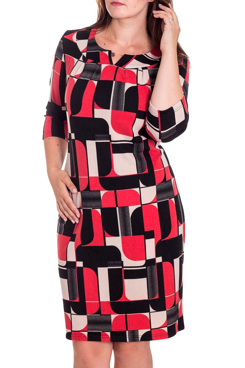 ПлатьеПлатья<br>Женственное платье с геометричным рисунком станет изюминкой Вашего гардероба. Побалуйте себя этой великолепной покупкой Изделие с рукавами 3/4.  В изделии использованы цвета: ярко-розовый, черный, молочный.  Рост девушки-фотомодели 180 см<br><br>Горловина: Фигурная горловина<br>По длине: До колена<br>По материалу: Трикотаж<br>По рисунку: Абстракция,С принтом,Цветные<br>По силуэту: Приталенные<br>По стилю: Повседневный стиль<br>По форме: Платье - футляр<br>По элементам: С декором<br>Рукав: Рукав три четверти<br>По сезону: Осень,Весна,Зима<br>Размер : 52<br>Материал: Трикотаж<br>Количество в наличии: 1