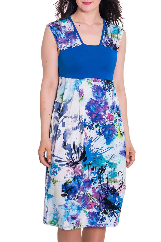 ПлатьеПлатья<br>Женское домашнее платье без рукавов. Домашняя одежда, прежде всего, должна быть удобной, практичной и красивой. В платье Вы будете чувствовать себя комфортно, особенно, по вечерам после трудового дня.  Цвет: синий, белый  Рост девушки-фотомодели 180 см.<br><br>Горловина: V- горловина<br>По материалу: Вискоза,Трикотаж<br>По рисунку: Растительные мотивы,Цветные,Цветочные<br>По силуэту: Полуприталенные<br>По форме: Платья<br>По сезону: Лето<br>По длине: До колена<br>Рукав: Без рукавов<br>Размер : 50<br>Материал: Вискоза<br>Количество в наличии: 1