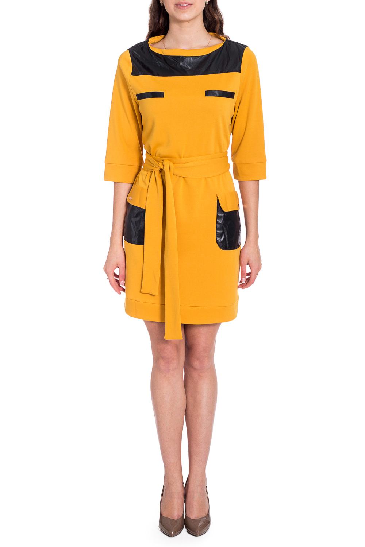 ПлатьеПлатья<br>Удивительно яркое платье Созданное из мягчайшего трикотажа, оно нравится буквально всем Кожаная отделка в контрасте подчеркивает детали кроя и фигуры.  Пояс в комплект не входит.  В изделии использованы цвета: желтый, черный  Рост девушки-фотомодели 170 см.<br><br>Горловина: С- горловина<br>По длине: До колена<br>По материалу: Трикотаж<br>По рисунку: Цветные<br>По силуэту: Полуприталенные<br>По стилю: Повседневный стиль<br>По форме: Платье - футляр<br>По элементам: С карманами,С кожаными вставками<br>Рукав: Короткий рукав<br>По сезону: Осень,Весна,Зима<br>Размер : 44,48,50<br>Материал: Джерси + Искусственная кожа<br>Количество в наличии: 3